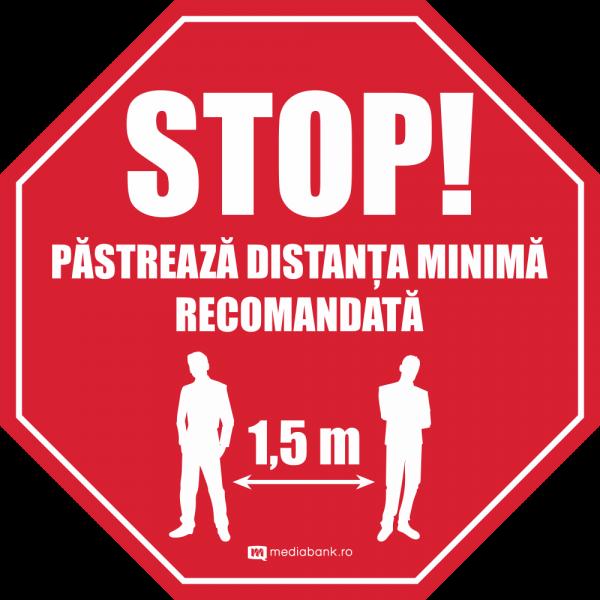STOP - Pastreaza distanta - Autcolant Podea
