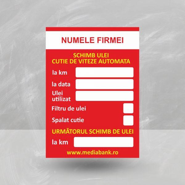 Etichetă schimb ulei la cutie de viteze automată